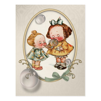Tiny Toddlers Vintage Illustration Postcard
