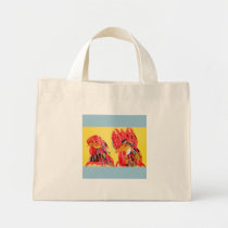 Tiny Tote Bag with Bright Chicken Design