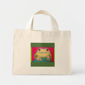 Tiny Tote Bag with Bright Frog Design