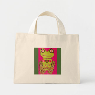 Tiny Tote Bag with Colorful Frog Design