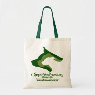 Tiny Tote natural and hunter green Budget Tote Bag
