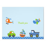 """Tiny Trips Transportation Thank You Note Cards 4.25"""" X 5.5"""" Invitation Card"""