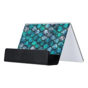 Bling business card holders cases zazzle tiny turquoise bling pattern desk business card holder colourmoves