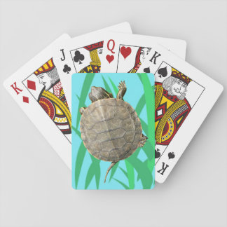 Tiny Turtle (Tortoise) on Green Grass Illustration Playing Cards