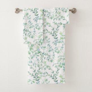 Tiny Watercolor Leaves Custom Color Bath Towels
