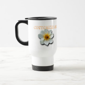 Tiny White Flower; Customizable Travel Mug