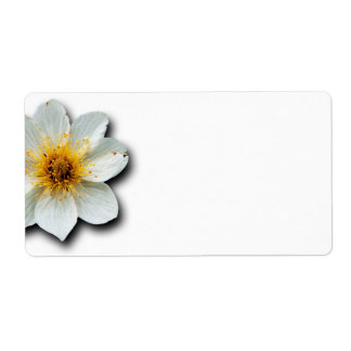 Tiny White Flower Label