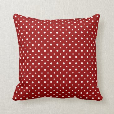 USA Themed Tiny White Polka Dots on Crimson Red Throw Pillow