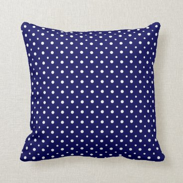 USA Themed Tiny White Polka Dots on Navy Blue Throw Pillow