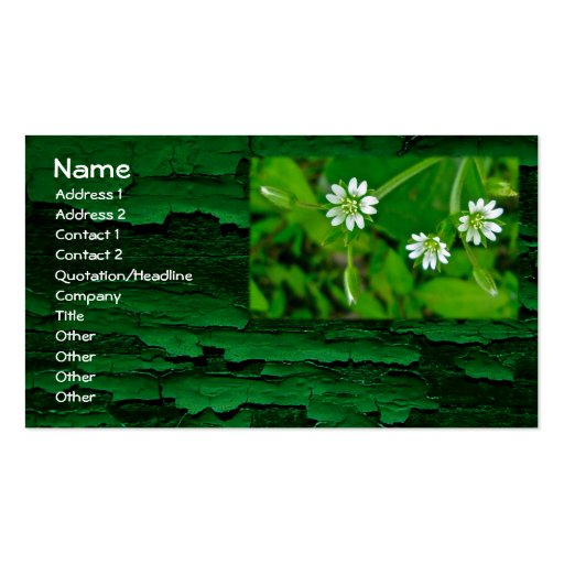 Tiny White Wildflower St. Patrick's Day Business Cards