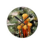 Tiny Wild Orange Mushrooms Nature Round Wallclock
