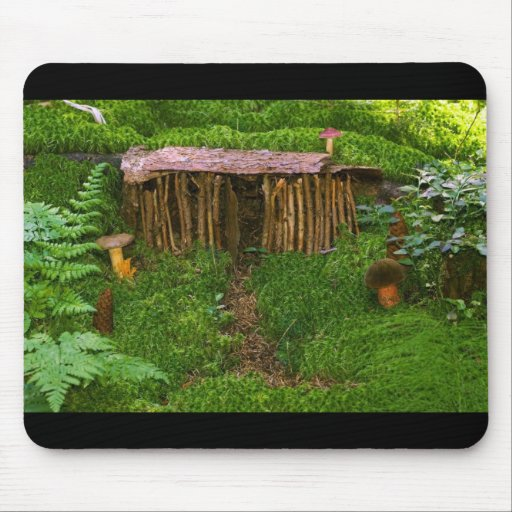 Tiny Wooden House With Mushrooms Mouse Pad