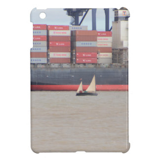 Tiny Yacht  And Huge Container Ship iPad Mini Covers