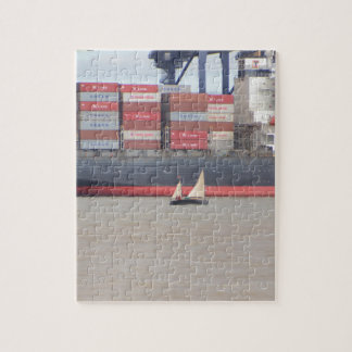 Tiny Yacht  And Huge Container Ship Jigsaw Puzzle