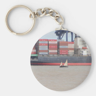 Tiny Yacht  And Huge Container Ship Key Chains