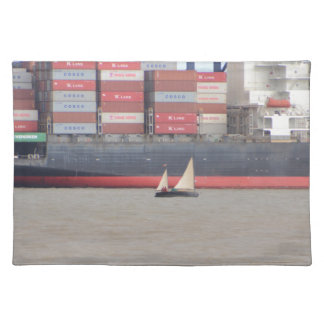 Tiny Yacht  And Huge Container Ship Cloth Place Mat