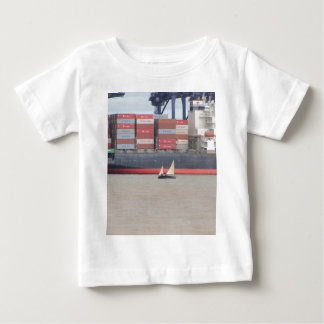 Tiny Yacht  And Huge Container Ship Infant T-shirt