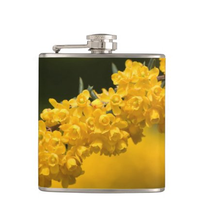 Tiny Yellow Flowers Hip Flasks