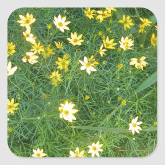 Tiny yellow flowers with greenery square sticker
