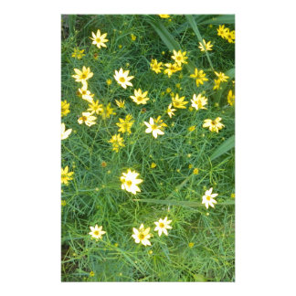 Tiny yellow flowers with greenery stationery