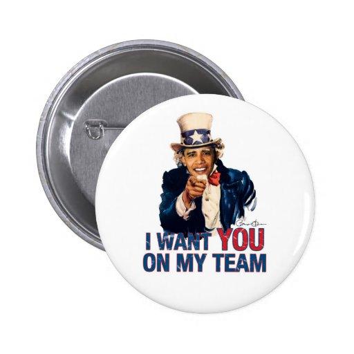 Tío Barack Obama le quiero en mi equipo Pin Redondo De 2 Pulgadas
