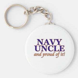 Tío de la marina de guerra y orgulloso de él llavero redondo tipo pin