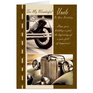 Tío del feliz cumpleaños coches de la tarjeta del