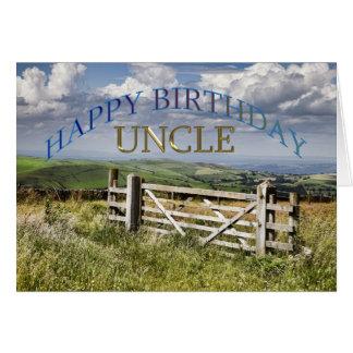 Tío del feliz cumpleaños, paisaje con una puerta tarjeta de felicitación