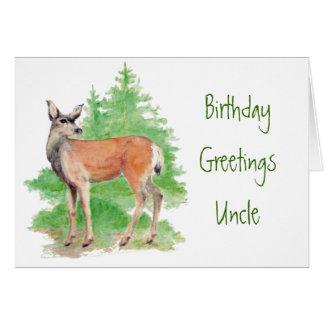 Tío divertido del cumpleaños, alguien ciervos a mi tarjeta de felicitación
