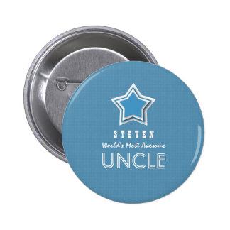 TÍO impresionante blanco azul con la estrella y el Pin Redondo De 2 Pulgadas