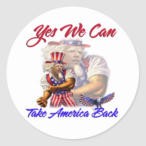 Tío Obama, podemos retirar sí América Pegatina Redonda