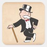 Tío rico Pennybags 3 Calcomanía Cuadradas