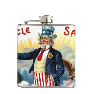 Tío Sam 4to del frasco patriótico de la cadera de