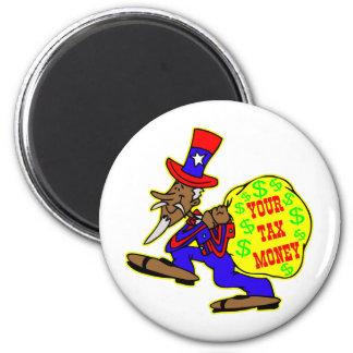 Tío Sam codicioso y su dinero de impuestos Imán De Nevera