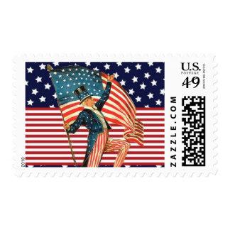 Tío Sam de la bandera americana Timbre Postal