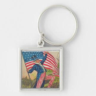 Tío Sam del vintage y bandera americana Llavero Cuadrado Plateado