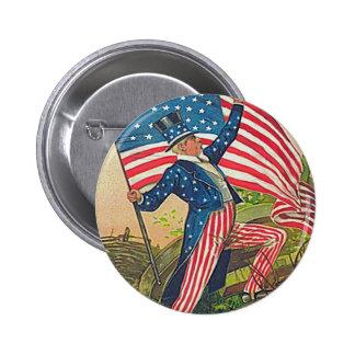 Tío Sam del vintage y bandera americana Pin Redondo De 2 Pulgadas