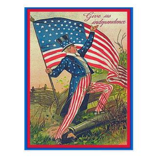 Tío Sam del vintage y bandera americana Postal