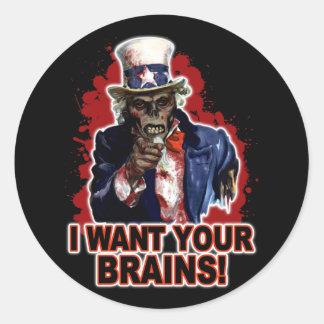 Tío Sam del zombi Pegatina Redonda