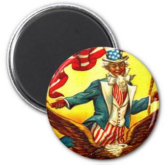 Tío Sam Eagle vintage 4 de julio patriótico Imán Redondo 5 Cm