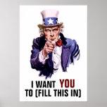 """Tío Sam """"le quiero"""" personalizable Poster"""
