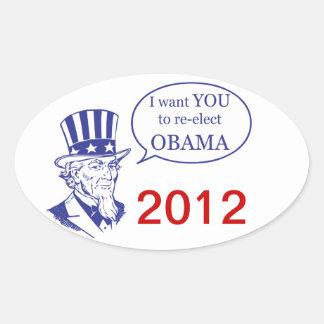 Tío Sam - Obama Pegatina Ovalada