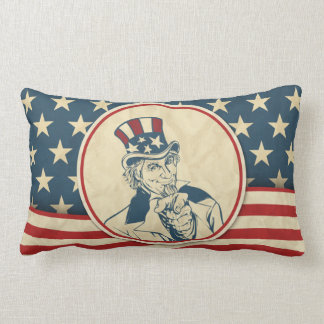 Tío Sam patriótico americana rústico Almohadas