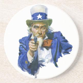 Tío Sam patriótico del vintage con el gorra y el Posavasos Manualidades