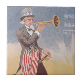 Tío Sam que juega el bugle Azulejo Cuadrado Pequeño