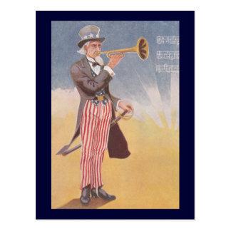 Tío Sam que juega el bugle Postal
