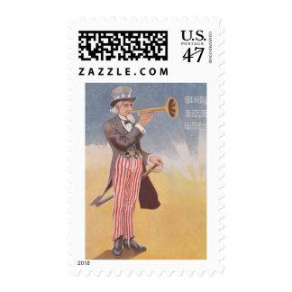 Tío Sam que juega el bugle Sello Postal