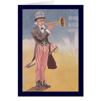Tío Sam que juega el bugle Tarjeta De Felicitación
