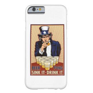 tío Sam que juega el caso del iPhone 6 del pong de Funda De iPhone 6 Barely There