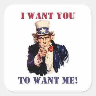 Tío Sam: ¡Quisiera que usted me quisiera! Colcomanias Cuadradases